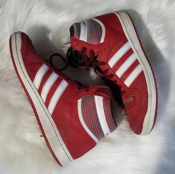 le adidas top ten di pelle rossa poshmark